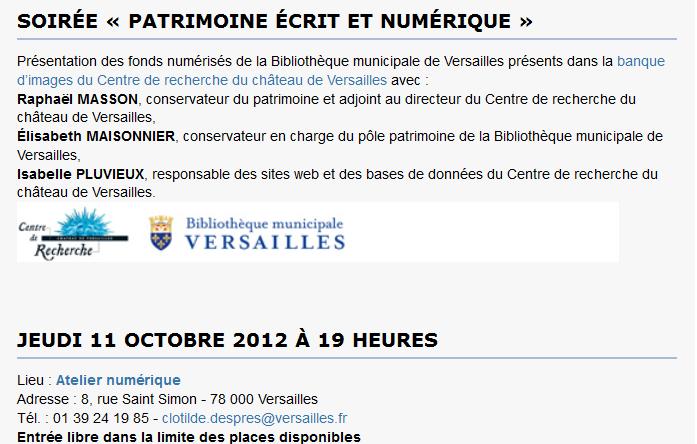 Soirée « Patrimoine écrit et numérique » (Versailles) Captur18