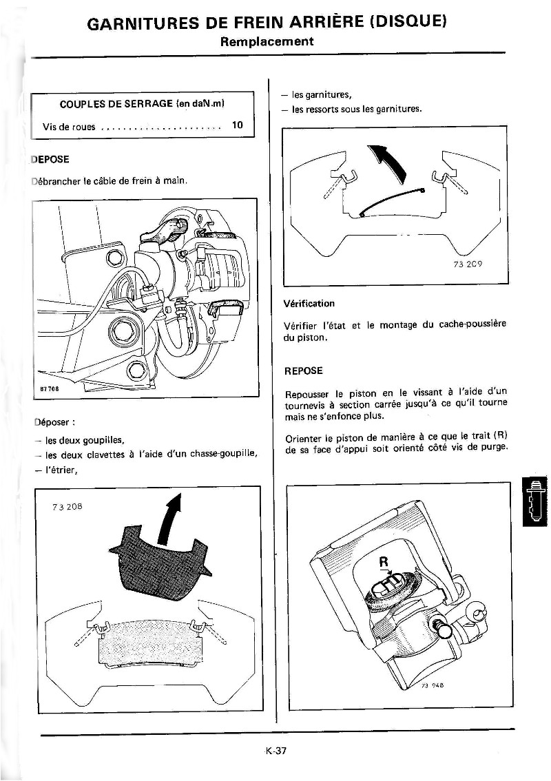Changement plaquettes frein arrière K37_mr10