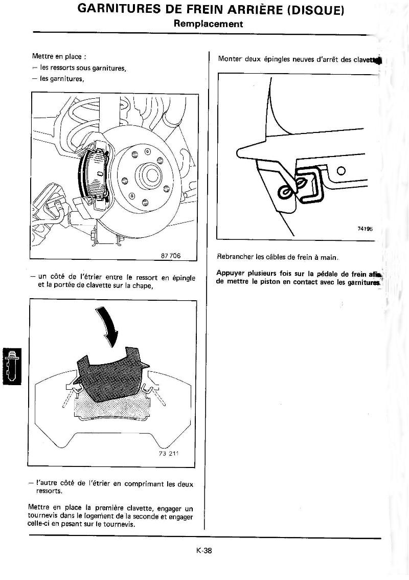 Changement plaquettes frein arrière K38_mr10