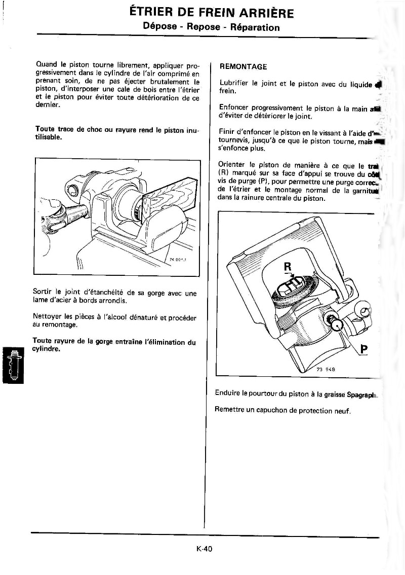 Changement plaquettes frein arrière K40_mr10