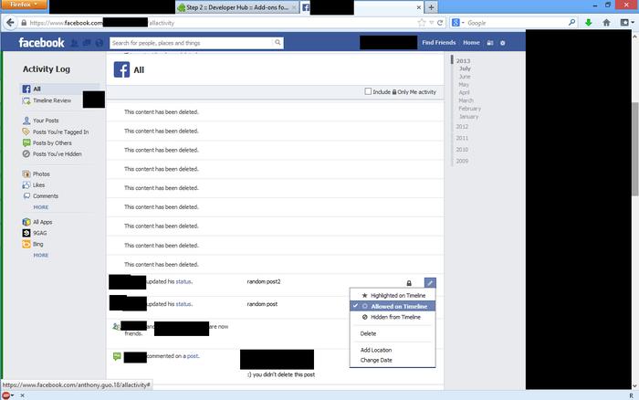 Facebook Activity Remover 0.1 10756410