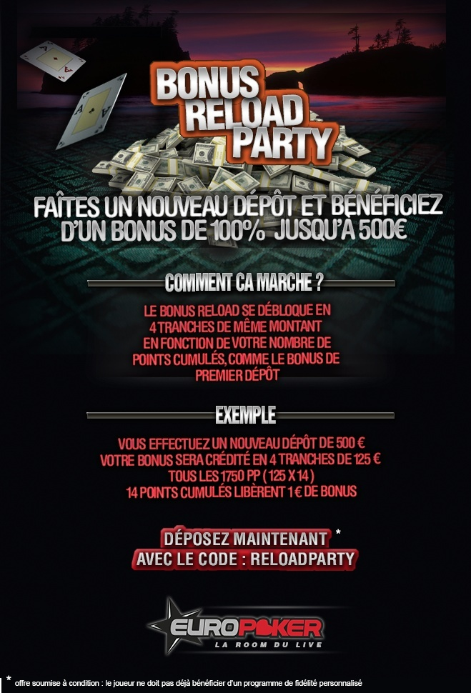 Bonus Reload Party sur Europoker Reload10