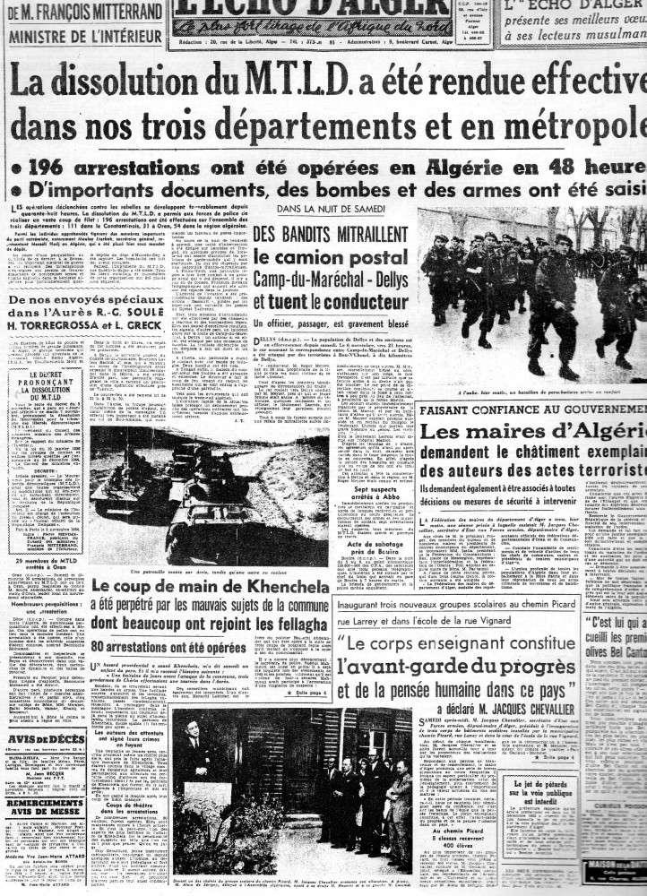ALGERIE PRESSE 1954 - (3 journaux en tout)  COMPLET. 410
