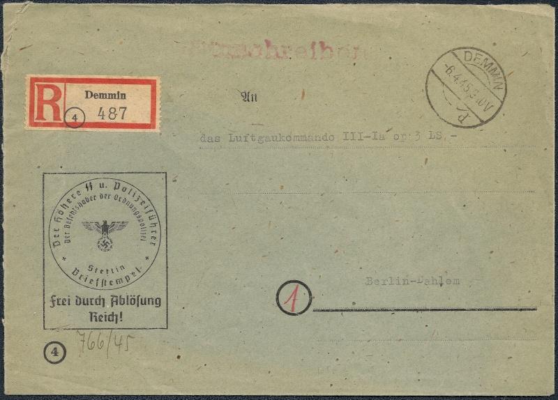 Deutsches Reich - Belege aus April 1945  1945-044