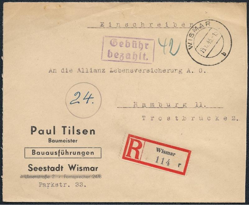 Deutsches Reich - Belege aus Dezember 1945  1945-112