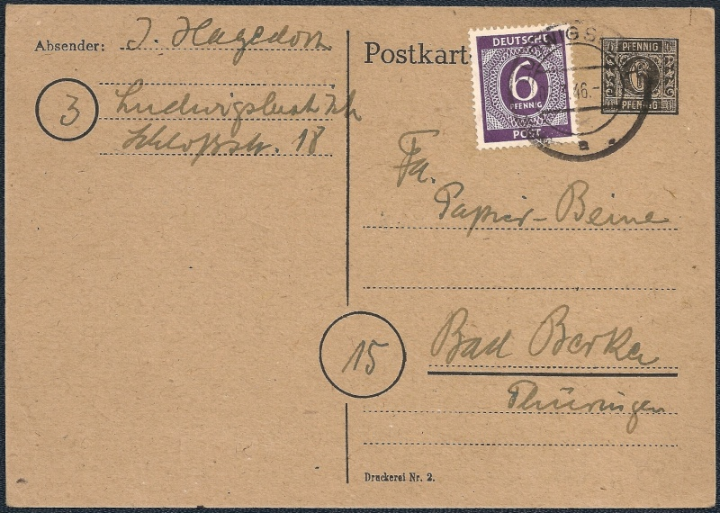 Deutsches Reich - Belege aus März 1946  1946-010