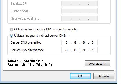 Come cambiare DNS con quelli di Google Dns12