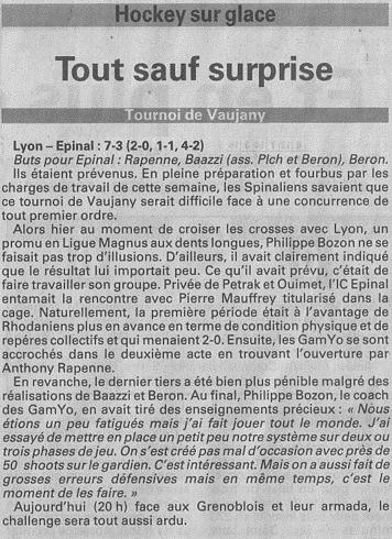 Vosges Matin, article du 23-08-2014: Tout sauf surprise 23-08-10