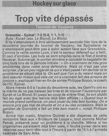 """Vosges Matin: article du 24-08-2014 """"Trop vite dépassés"""" 24-08-10"""