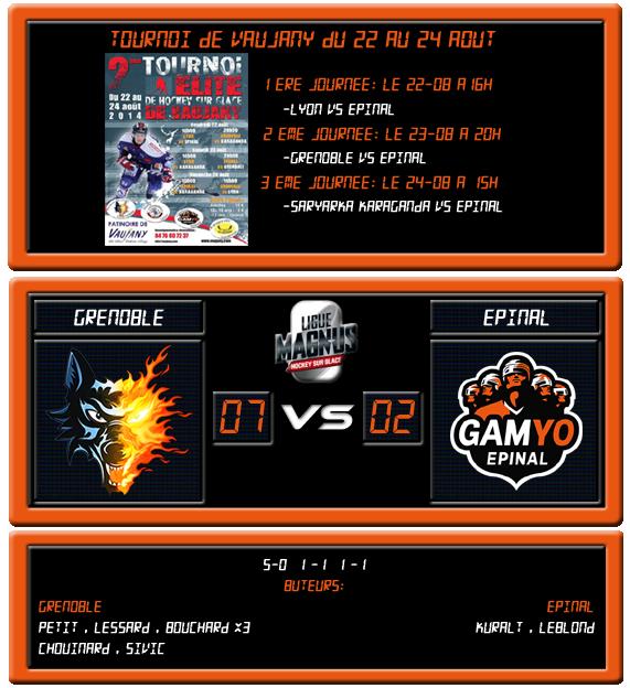 [Tournoi amical de Vaujany] Grenoble 7 - 2 Epinal (2ème journée, 23 août 2014) Grenob14