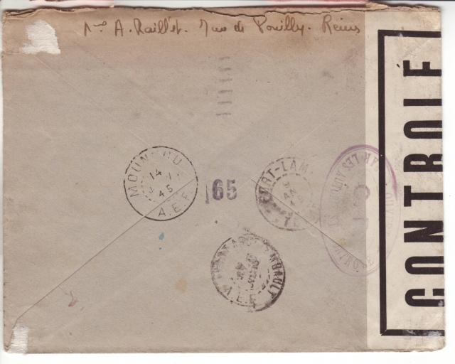Lettre de Fontaine Denis (Marne) du 30.12.1944 avec censure C.F. cachet du même type que C.J. et C.R. 10001010