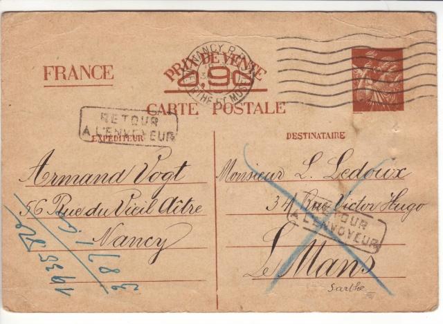 Note E.P.1 du 04.12.1940 relative au contrôle à exercer sur les Cartes Postales familiales (Interzone) 1002110
