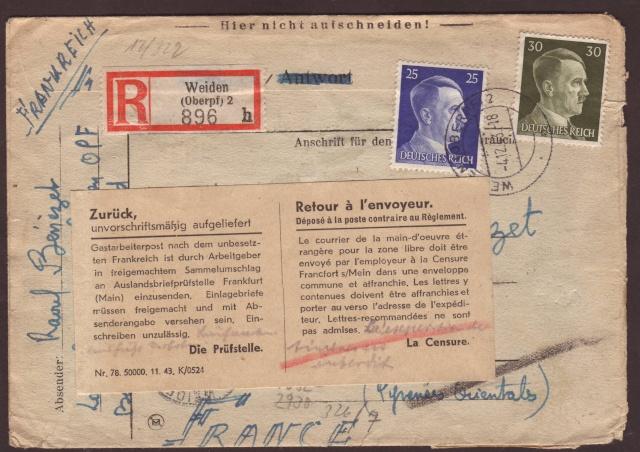 Lettres recommandées des STO ne sont plus admises par la censure de Francfort/M (e) (suite) 1002111