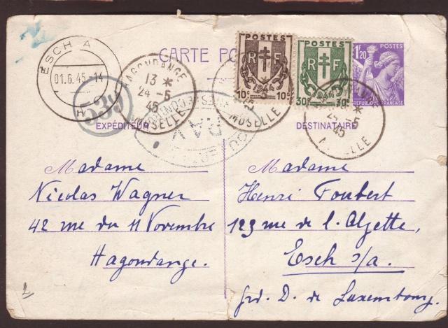 Carte postale de 1945 de la Moselle pour le Gd Duché du Luxembourg avec censure de Paris 1002114