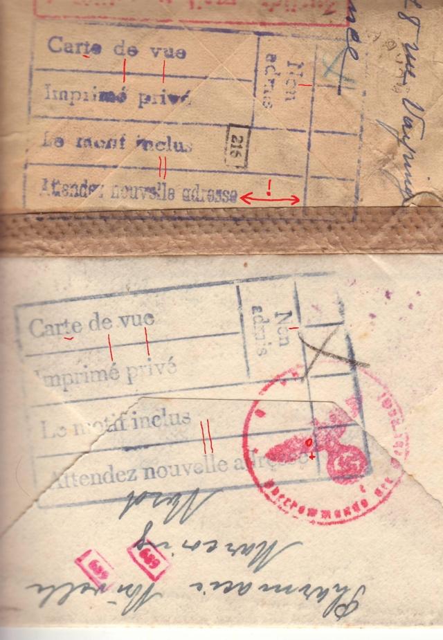 """Cachets """"Non admis"""" sur lettres contrôlées par l'ABP e. 1002510"""