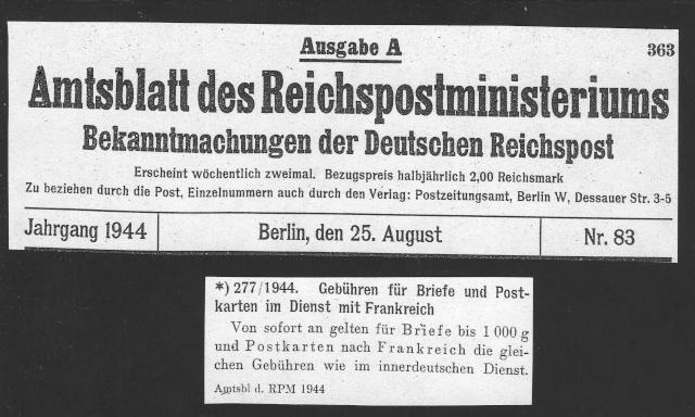 Tarif postal du 25 aout 1944 du Reich vers la France - méconnu des guichetiers et du peuples ?? 1002811