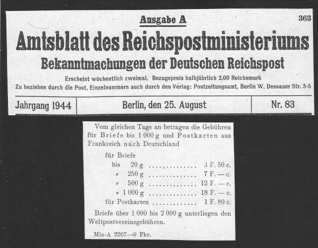 Tarif postal du 25 aout 1944 de la France vers le Reich - méconnu des guichetiers et du peuple ?? 1003010