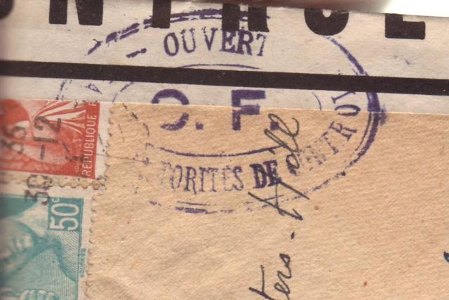 Lettre de Fontaine Denis (Marne) du 30.12.1944 avec censure C.F. cachet du même type que C.J. et C.R. 1003510