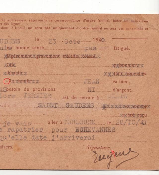 Les Cartes Postales familiales Interzones - Type Iris sans valeur - 1° modèle septembre 1940. 11000110
