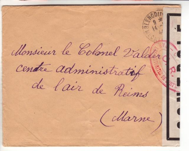 Lettre de Fontaine Denis (Marne) du 30.12.1944 avec censure C.F. cachet du même type que C.J. et C.R. 11000910