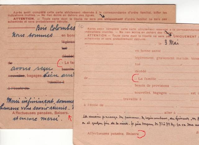 Les Cartes Postales familiales Interzones - Type Iris sans valeur - 1° modèle septembre 1940. 12000110