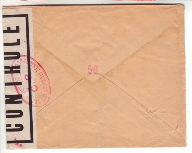 Lettre de Fontaine Denis (Marne) du 30.12.1944 avec censure C.F. cachet du même type que C.J. et C.R. 12000610