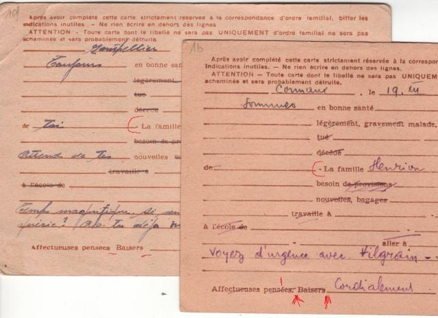 Les Cartes Postales familiales Interzones - Type Iris sans valeur - 1° modèle septembre 1940. 13000110