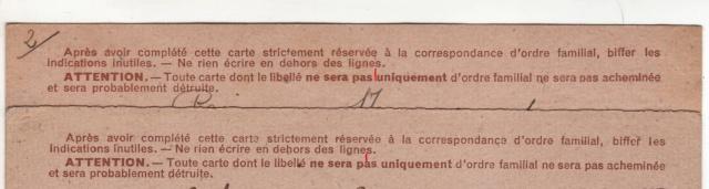 Les Cartes Postales familiales Interzones - Type Iris sans valeur - 1° modèle septembre 1940. 14000110