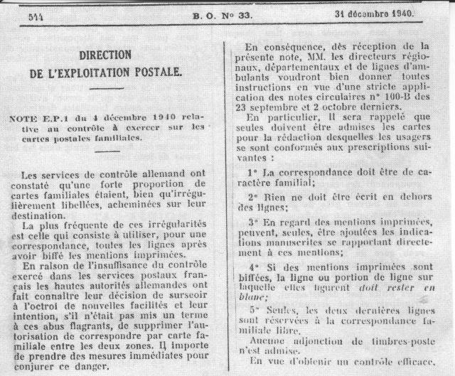 Note E.P.1 du 04.12.1940 relative au contrôle à exercer sur les Cartes Postales familiales (Interzone) 1_000111