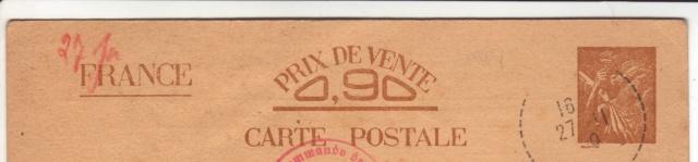 Les Cartes Postales familiales Interzones - Type Iris sans valeur - 1° modèle septembre 1940. 2000110