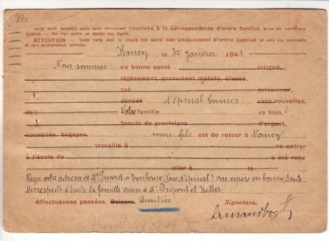 Note E.P.1 du 04.12.1940 relative au contrôle à exercer sur les Cartes Postales familiales (Interzone) 2022310