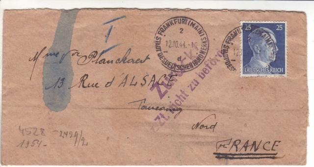 Tarif postal du 25 aout 1944 du Reich vers la France - méconnu des guichetiers et du peuples ?? 2022411