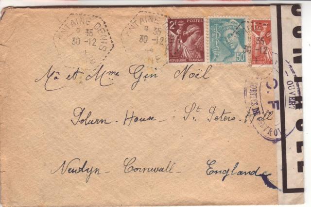 Lettre de Fontaine Denis (Marne) du 30.12.1944 avec censure C.F. cachet du même type que C.J. et C.R. 2023510