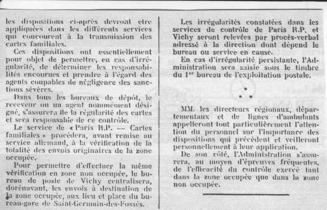 Note E.P.1 du 04.12.1940 relative au contrôle à exercer sur les Cartes Postales familiales (Interzone) 2_000212