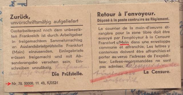 Lettres recommandées des STO ne sont plus admises par la censure de Francfort/M (e) (suite) 3001510