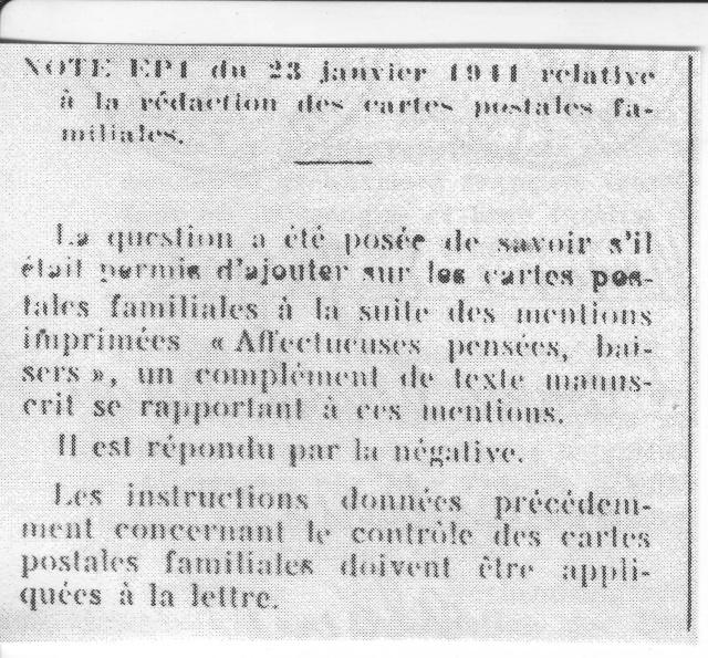 Note E.P.1 du 04.12.1940 relative au contrôle à exercer sur les Cartes Postales familiales (Interzone) 3001610