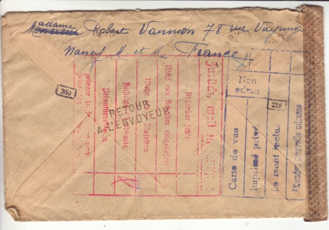 """Cachets """"Non admis"""" sur lettres contrôlées par l'ABP e. 3001911"""