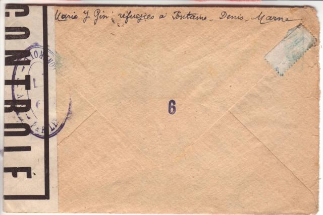 Lettre de Fontaine Denis (Marne) du 30.12.1944 avec censure C.F. cachet du même type que C.J. et C.R. 3002810