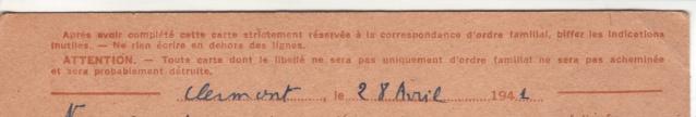 Les Cartes Postales familiales Interzones - Type Iris sans valeur - 1° modèle septembre 1940. 4000110