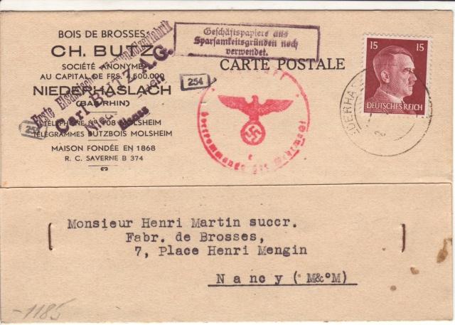 Cachet justifiant l'emploi de documents en langue française sur courrier alsacien 4000210