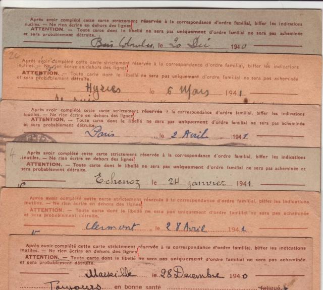 Les Cartes Postales familiales Interzones - Type Iris sans valeur - 1° modèle septembre 1940. 4_10
