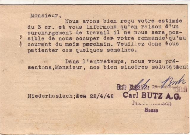 Cachet justifiant l'emploi de documents en langue française sur courrier alsacien 5000210