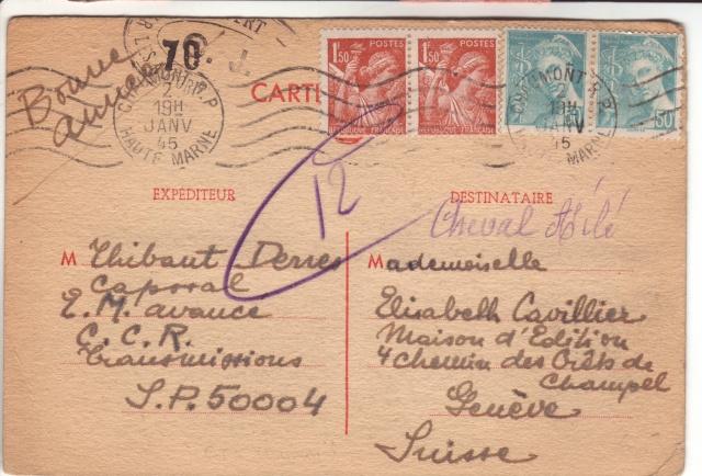 Lettre de Fontaine Denis (Marne) du 30.12.1944 avec censure C.F. cachet du même type que C.J. et C.R. 6001510