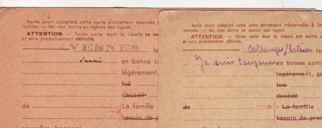 Les Cartes Postales familiales Interzones - Type Iris sans valeur - 1° modèle septembre 1940. 610