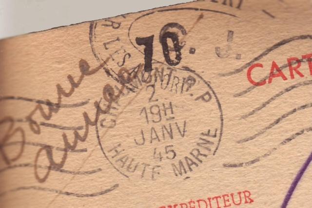 Lettre de Fontaine Denis (Marne) du 30.12.1944 avec censure C.F. cachet du même type que C.J. et C.R. 8001010