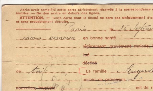Les Cartes Postales familiales Interzones - Type Iris sans valeur - 1° modèle septembre 1940. 810