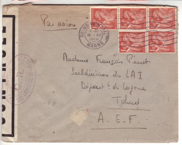 Lettre de Fontaine Denis (Marne) du 30.12.1944 avec censure C.F. cachet du même type que C.J. et C.R. 9001010