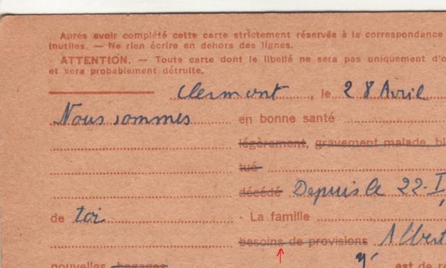 Les Cartes Postales familiales Interzones - Type Iris sans valeur - 1° modèle septembre 1940. 910