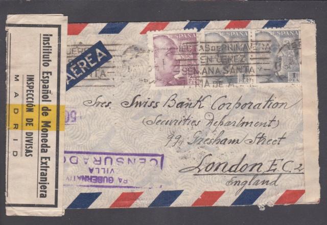 Contrôle des devises du courrier au départ d'Espagne. _1000011