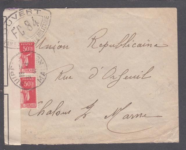 Cachet postal du Suippe (départ) sur bande de fermeture de Chalons sur Marne ?? _1001810